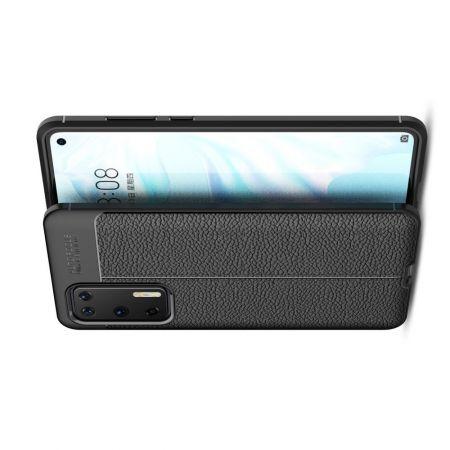 Litchi Grain Leather Силиконовый Накладка Чехол для Huawei P40 с Текстурой Кожа Черный