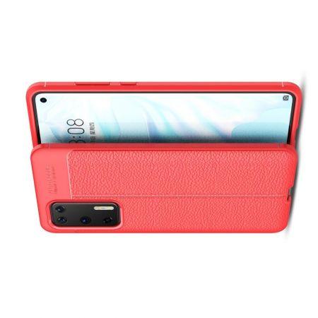 Litchi Grain Leather Силиконовый Накладка Чехол для Huawei P40 с Текстурой Кожа Красный