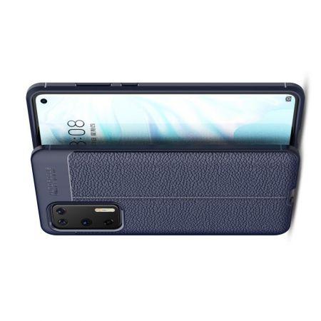 Litchi Grain Leather Силиконовый Накладка Чехол для Huawei P40 с Текстурой Кожа Синий