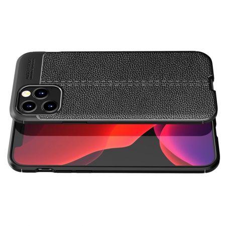 Litchi Grain Leather Силиконовый Накладка Чехол для iPhone 12 / 12 Pro с Текстурой Кожа Черный
