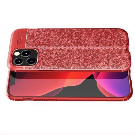 Litchi Grain Leather Силиконовый Накладка Чехол для iPhone 12 / 12 Pro с Текстурой Кожа Красный