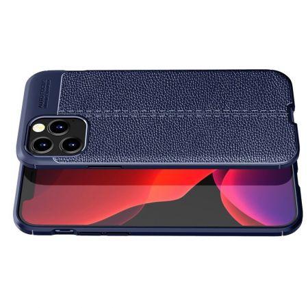 Litchi Grain Leather Силиконовый Накладка Чехол для iPhone 12 / 12 Pro с Текстурой Кожа Синий
