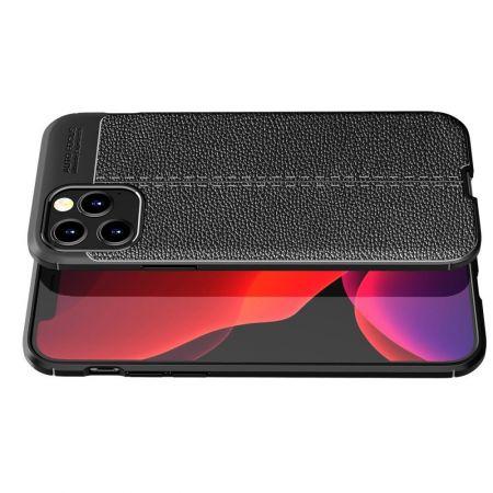 Litchi Grain Leather Силиконовый Накладка Чехол для iPhone 12 Pro Max с Текстурой Кожа Черный
