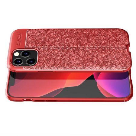 Litchi Grain Leather Силиконовый Накладка Чехол для iPhone 12 Pro Max с Текстурой Кожа Красный