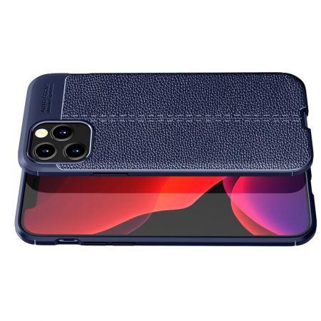Litchi Grain Leather Силиконовый Накладка Чехол для iPhone 12 Pro Max с Текстурой Кожа Синий