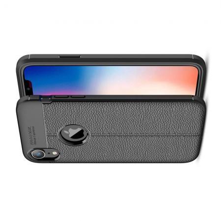 Litchi Grain Leather Силиконовый Накладка Чехол для iPhone XR с Текстурой Кожа Черный