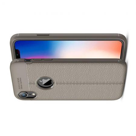 Litchi Grain Leather Силиконовый Накладка Чехол для iPhone XR с Текстурой Кожа Серый