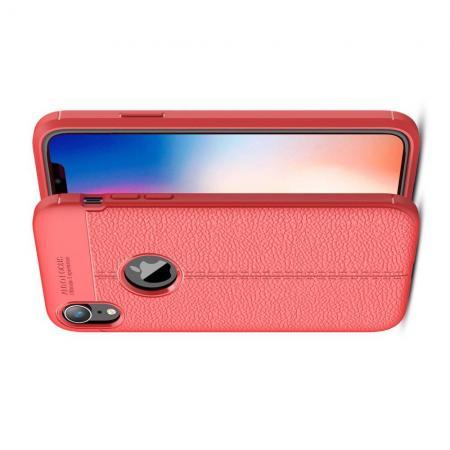 Litchi Grain Leather Силиконовый Накладка Чехол для iPhone XR с Текстурой Кожа Красный