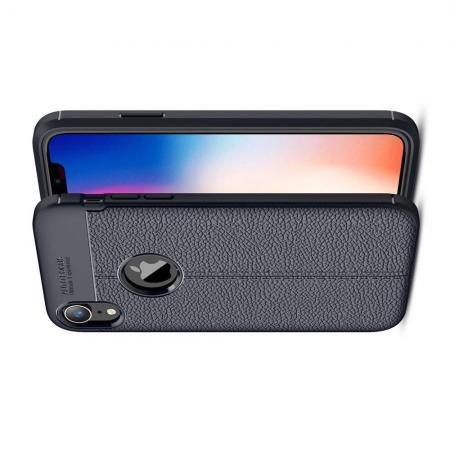 Litchi Grain Leather Силиконовый Накладка Чехол для iPhone XR с Текстурой Кожа Синий