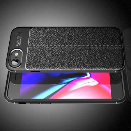 Litchi Grain Leather Силиконовый Накладка Чехол для iPhone SE 2020 с Текстурой Кожа Черный