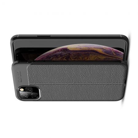 Litchi Grain Leather Силиконовый Накладка Чехол для iPhone XI Max с Текстурой Кожа Черный