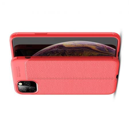 Litchi Grain Leather Силиконовый Накладка Чехол для iPhone XI Max с Текстурой Кожа Коралловый