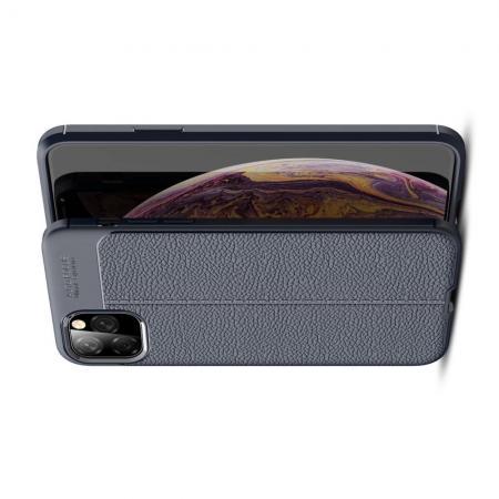Litchi Grain Leather Силиконовый Накладка Чехол для iPhone XI Max с Текстурой Кожа Синий