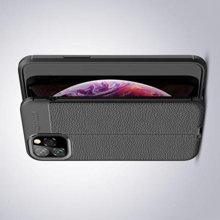 Litchi Grain Leather Силиконовый Накладка Чехол для iPhone 11 Pro с Текстурой Кожа Черный
