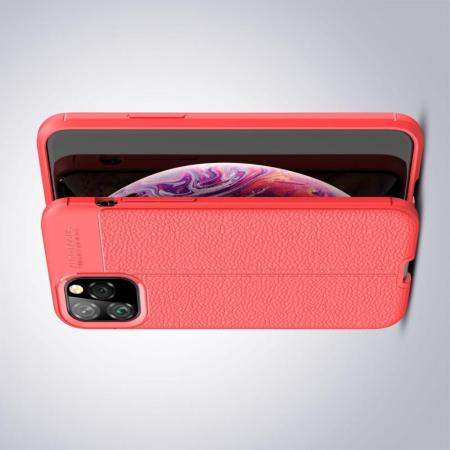 Litchi Grain Leather Силиконовый Накладка Чехол для iPhone 11 Pro с Текстурой Кожа Коралловый