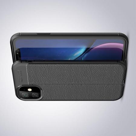 Litchi Grain Leather Силиконовый Накладка Чехол для iPhone 11 с Текстурой Кожа Черный