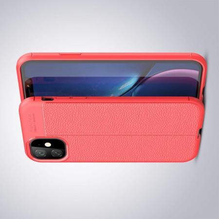 Litchi Grain Leather Силиконовый Накладка Чехол для iPhone 11 с Текстурой Кожа Коралловый