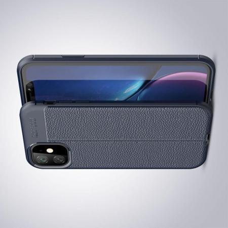 Litchi Grain Leather Силиконовый Накладка Чехол для iPhone 11 с Текстурой Кожа Синий