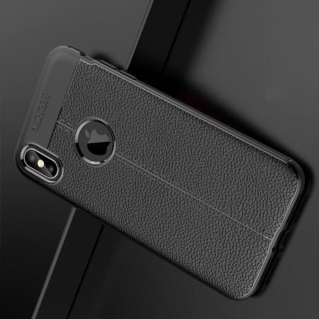 Litchi Grain Leather Силиконовый Накладка Чехол для iPhone XS Max с Текстурой Кожа Черный