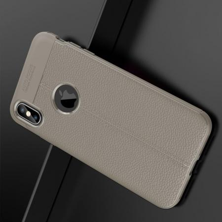 Litchi Grain Leather Силиконовый Накладка Чехол для iPhone XS Max с Текстурой Кожа Серый