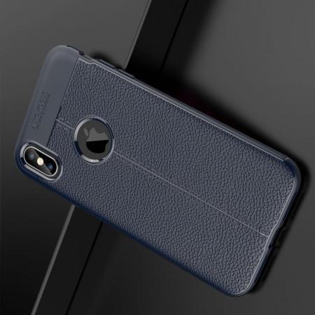 Litchi Grain Leather Силиконовый Накладка Чехол для iPhone XS Max с Текстурой Кожа Синий