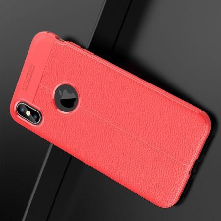 Litchi Grain Leather Силиконовый Накладка Чехол для iPhone XS Max с Текстурой Кожа Коралловый
