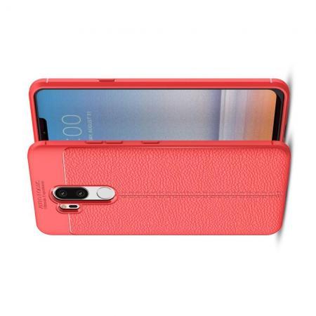 Litchi Grain Leather Силиконовый Накладка Чехол для LG G7 ThinQ с Текстурой Кожа Коралловый
