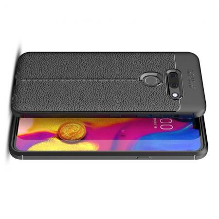 Litchi Grain Leather Силиконовый Накладка Чехол для LG G8 ThinQ с Текстурой Кожа Черный