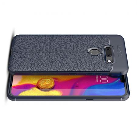 Litchi Grain Leather Силиконовый Накладка Чехол для LG G8 ThinQ с Текстурой Кожа Синий