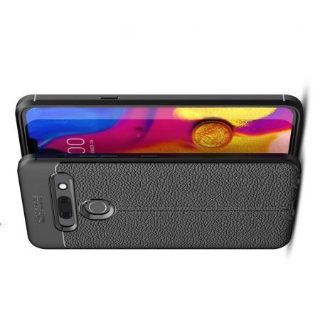 Litchi Grain Leather Силиконовый Накладка Чехол для LG G8s ThinQ с Текстурой Кожа Черный