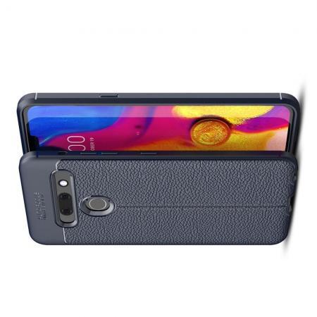 Litchi Grain Leather Силиконовый Накладка Чехол для LG G8s ThinQ с Текстурой Кожа Синий