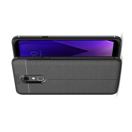 Litchi Grain Leather Силиконовый Накладка Чехол для LG Q Stylus+ с Текстурой Кожа Черный