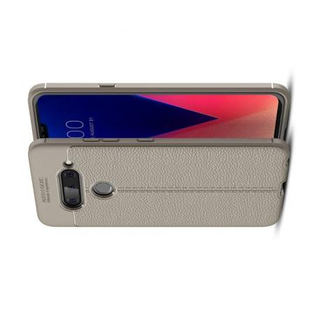 Litchi Grain Leather Силиконовый Накладка Чехол для LG V40 ThinQ с Текстурой Кожа Серый