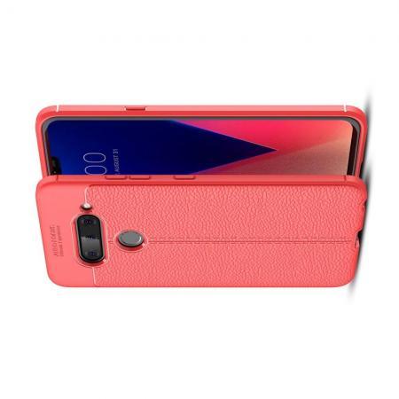 Litchi Grain Leather Силиконовый Накладка Чехол для LG V40 ThinQ с Текстурой Кожа Коралловый