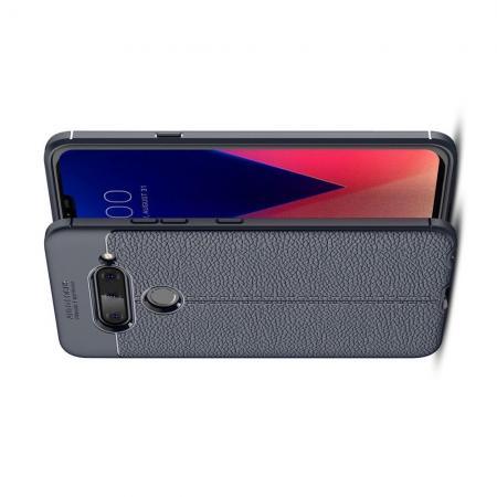 Litchi Grain Leather Силиконовый Накладка Чехол для LG V40 ThinQ с Текстурой Кожа Синий