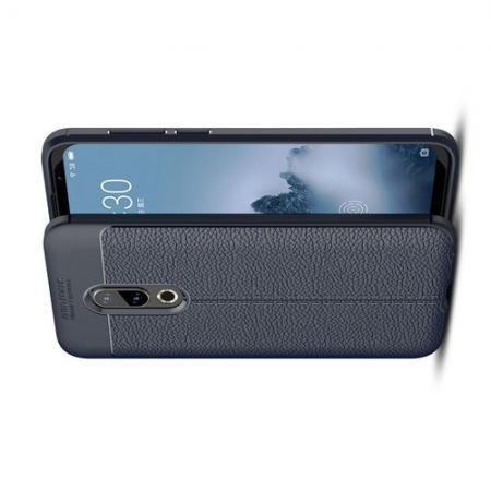 Litchi Grain Leather Силиконовый Накладка Чехол для Meizu 16 Plus с Текстурой Кожа Синий