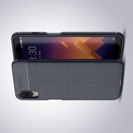 Litchi Grain Leather Силиконовый Накладка Чехол для Meizu E3 с Текстурой Кожа Синий