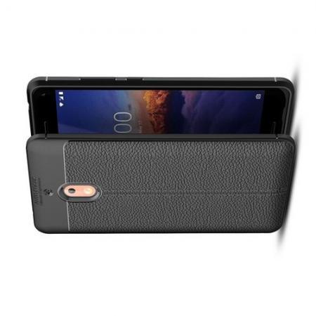 Litchi Grain Leather Силиконовый Накладка Чехол для Nokia 2.1 2018 с Текстурой Кожа Черный