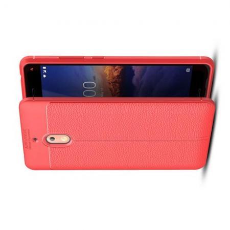 Litchi Grain Leather Силиконовый Накладка Чехол для Nokia 2.1 2018 с Текстурой Кожа Коралловый