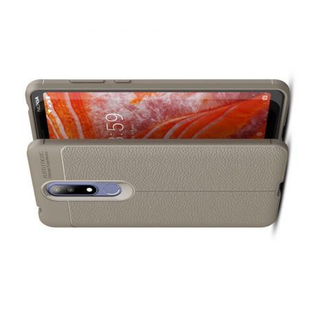 Litchi Grain Leather Силиконовый Накладка Чехол для Nokia 3.1 Plus с Текстурой Кожа Серый