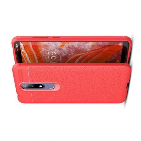 Litchi Grain Leather Силиконовый Накладка Чехол для Nokia 3.1 Plus с Текстурой Кожа Коралловый