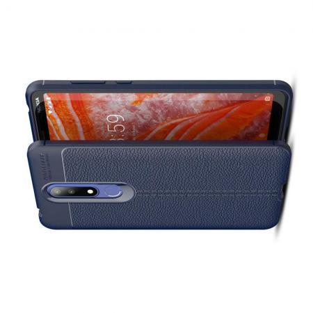 Litchi Grain Leather Силиконовый Накладка Чехол для Nokia 3.1 Plus с Текстурой Кожа Синий