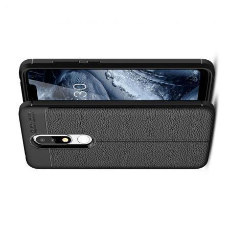 Litchi Grain Leather Силиконовый Накладка Чехол для Nokia 5.1 Plus с Текстурой Кожа Черный