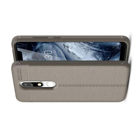 Litchi Grain Leather Силиконовый Накладка Чехол для Nokia 5.1 Plus с Текстурой Кожа Серый