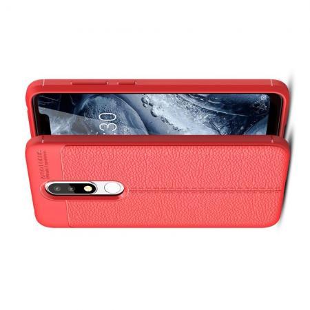 Litchi Grain Leather Силиконовый Накладка Чехол для Nokia 5.1 Plus с Текстурой Кожа Коралловый