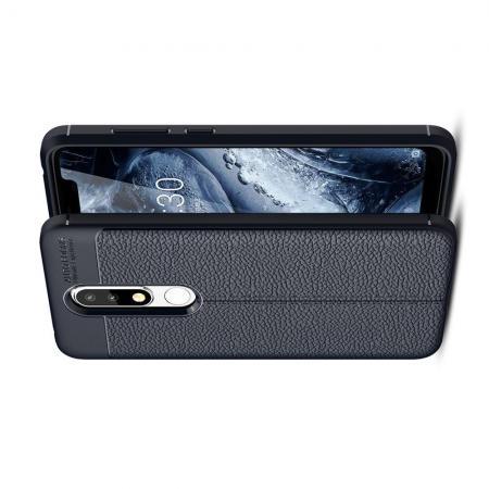 Litchi Grain Leather Силиконовый Накладка Чехол для Nokia 5.1 Plus с Текстурой Кожа Синий