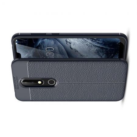 Litchi Grain Leather Силиконовый Накладка Чехол для Nokia 6.1 Plus с Текстурой Кожа Синий