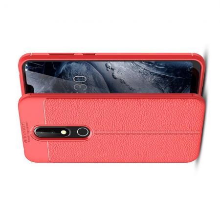 Litchi Grain Leather Силиконовый Накладка Чехол для Nokia 6.1 Plus с Текстурой Кожа Коралловый