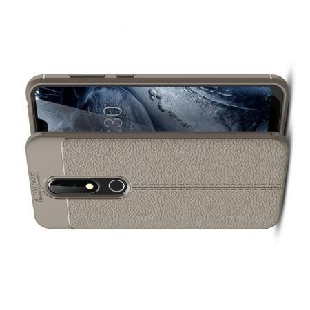 Litchi Grain Leather Силиконовый Накладка Чехол для Nokia 6.1 Plus с Текстурой Кожа Серый