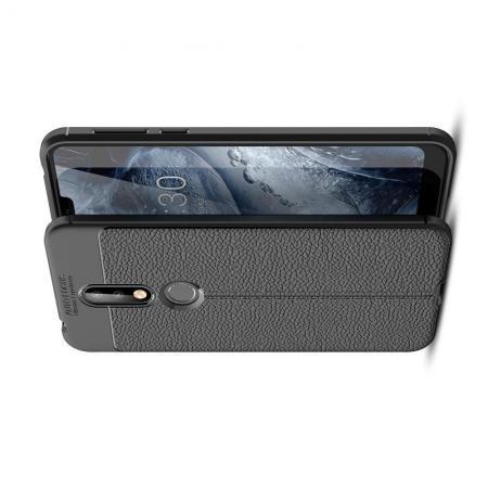 Litchi Grain Leather Силиконовый Накладка Чехол для Nokia 7.1 с Текстурой Кожа Черный